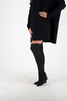 REINDERS | Overknee sock heels black | Heels | Esuals.nl
