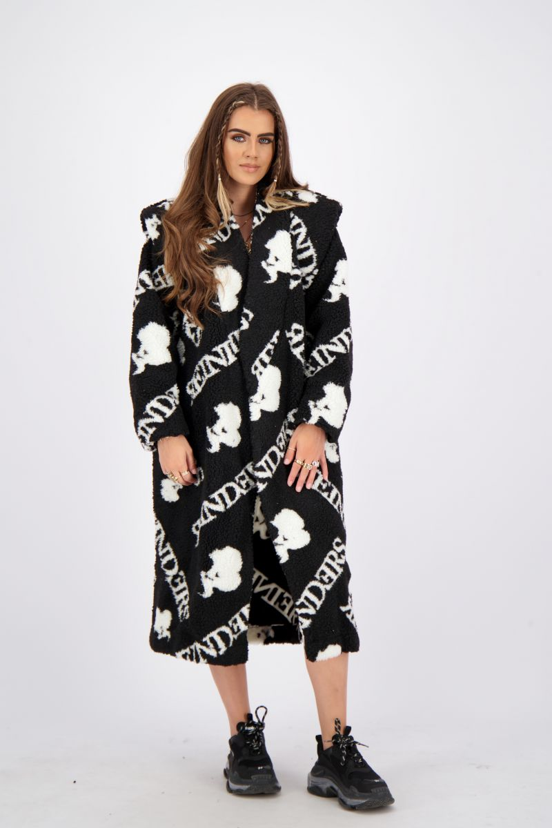 TEDDY COAT LONG WITH ALL OVER PRINT