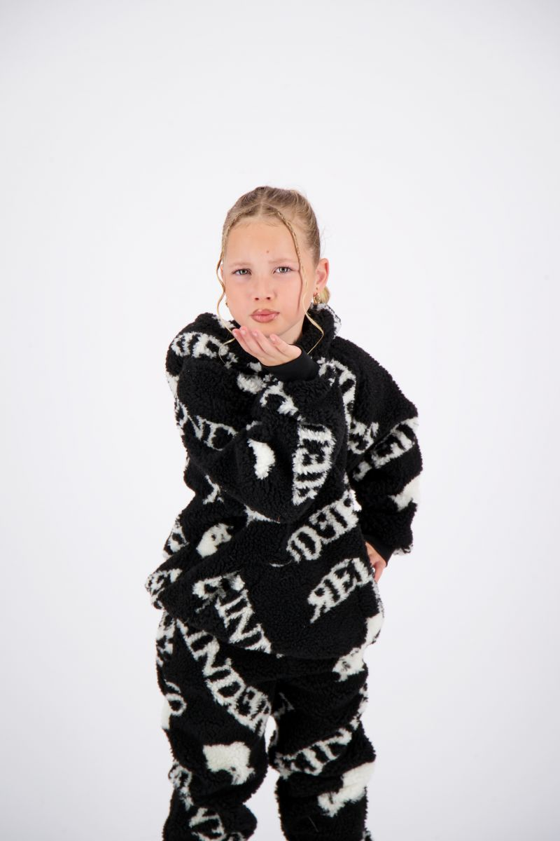 TEDDY HOODIE WITH ALL OVER PRINT
